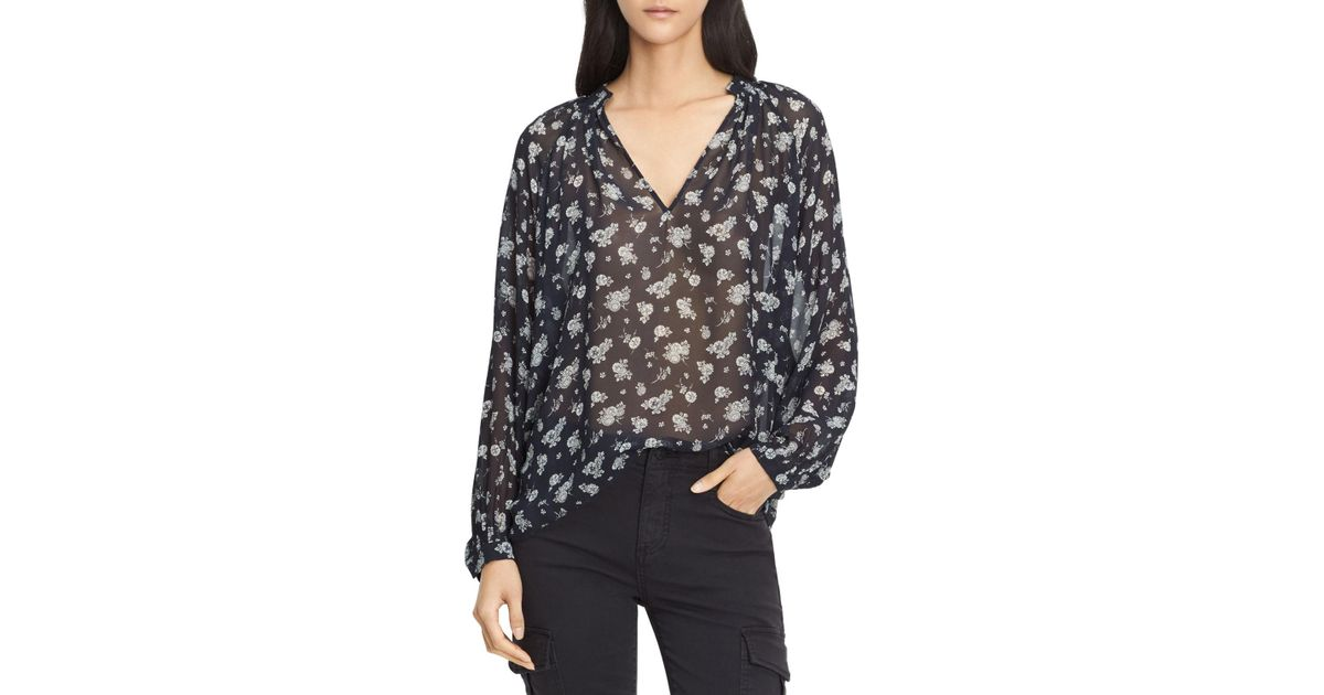 a9493b4c7aa870 Vince Calico Floral Shirred Neck Blouse - Lyst