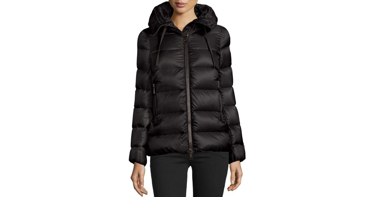d9c0e78d45dd Lyst - Moncler Serinde Hooded Short Puffer Jacket in Black