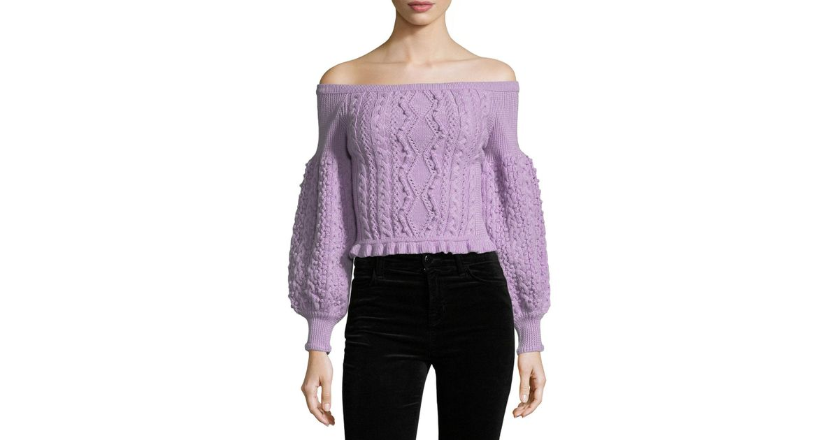 Lyst Valentino Off The Shoulder Virgin Wool Cable Knit Sweater In