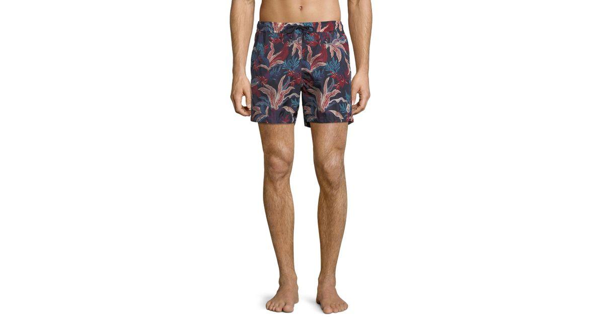 fe80dded06 Lyst - Moncler Floral Print Swim Trunks in Blue for Men