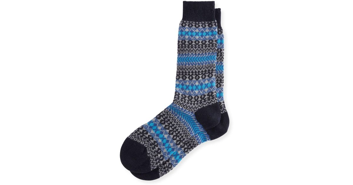 Pantherella Mapperton Fair Isle Half-calf Socks in Blue for Men | Lyst
