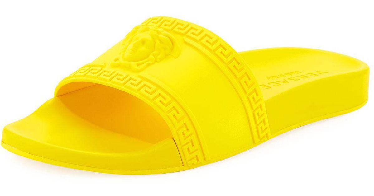 08ec618889e8b Lyst - Versace Men s Medusa   Greek Key Shower Slide Sandals in Yellow for  Men
