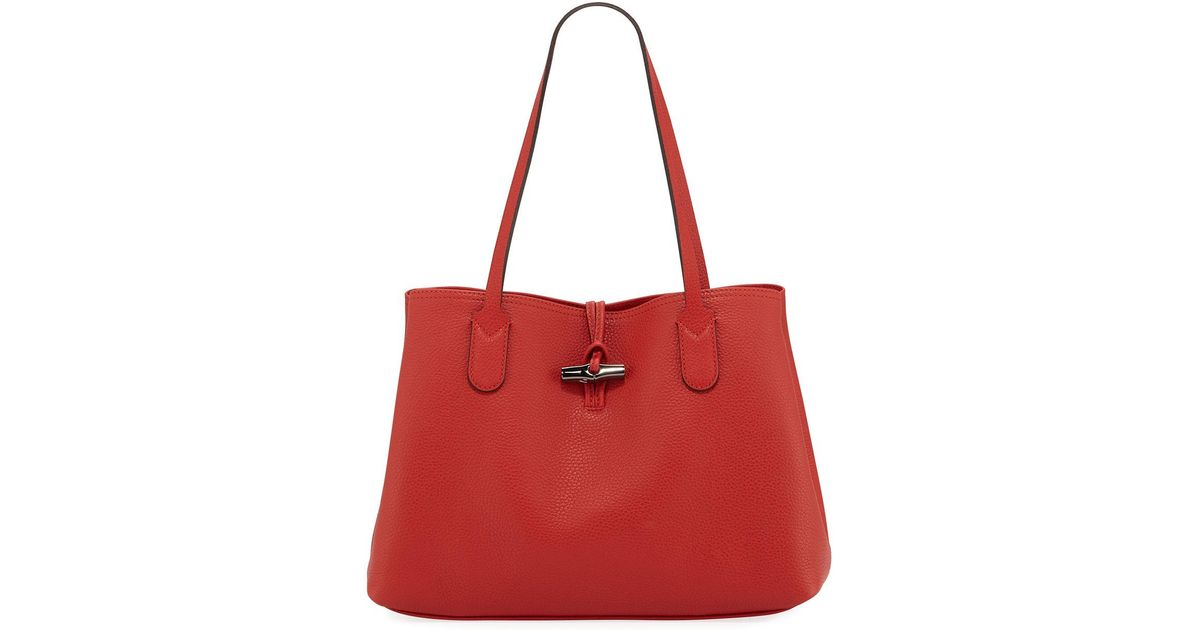 13f8fed793bf Lyst - Longchamp Roseau Essential Medium Leather Shoulder Tote Bag in Red