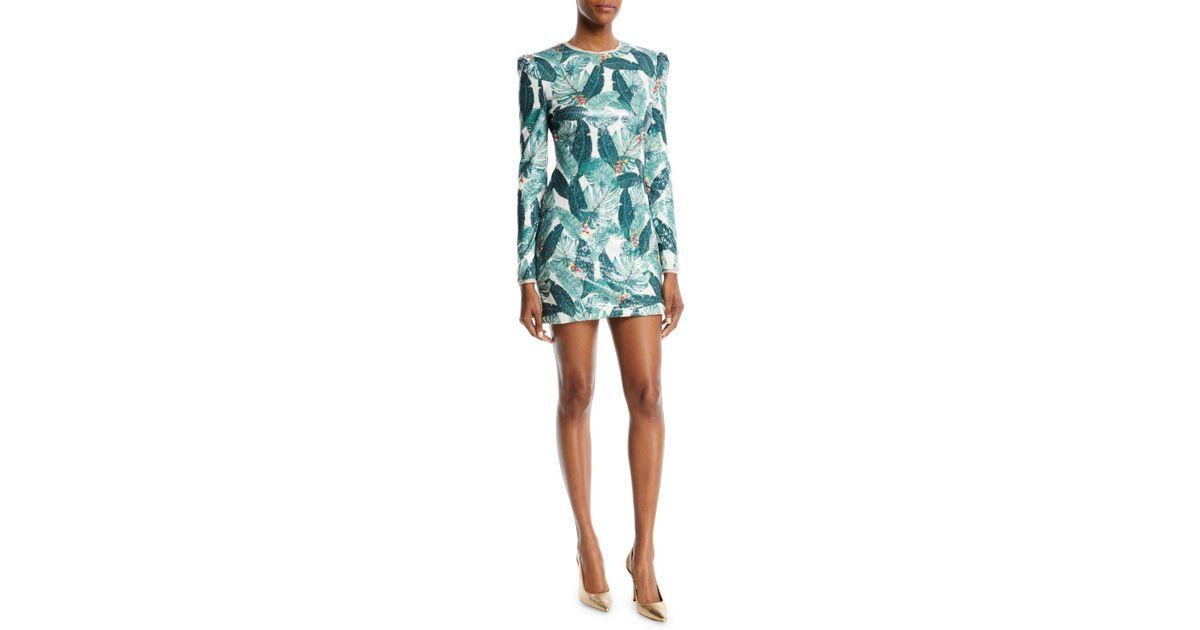 c30e60fe4425 Rachel Zoe Amelia Sequin Palm-print Open-back Mini Dress in Blue - Lyst
