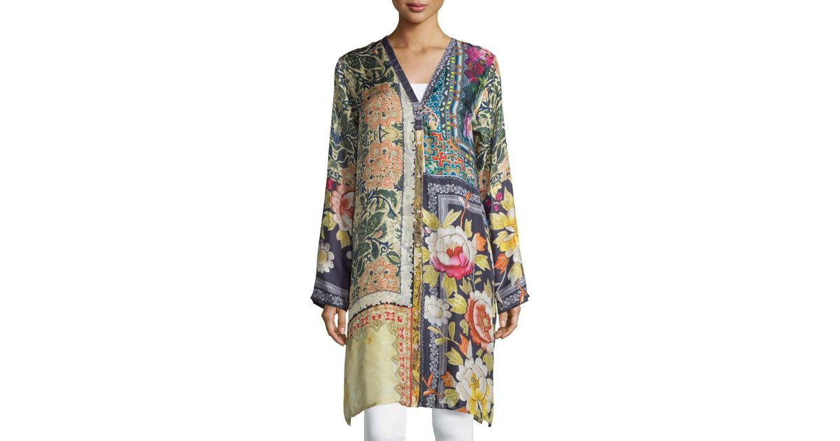 b9f9f5916b7 Johnny Was Shiro Printed Button-front Silk Tunic - Lyst