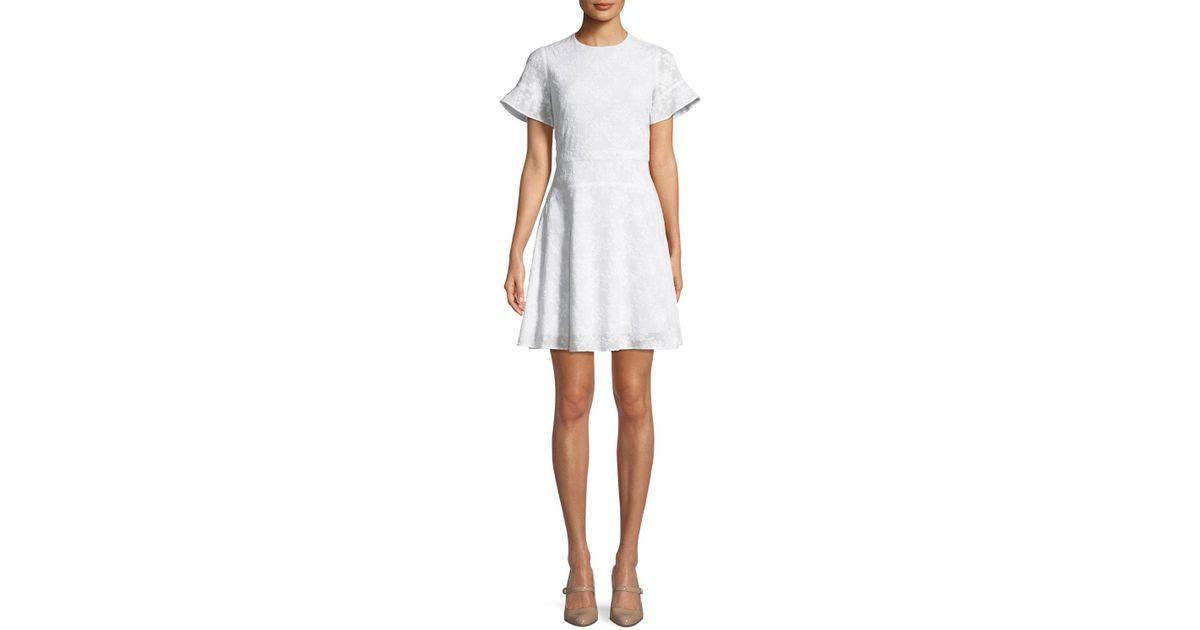 Lyst michael michael kors floral applique puff sleeve mini dress