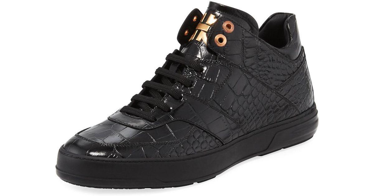 5d55d111d7f14 Lyst - Ferragamo Monroe Men s Croc-embossed Leather Mid-top Sneaker in Black  for Men