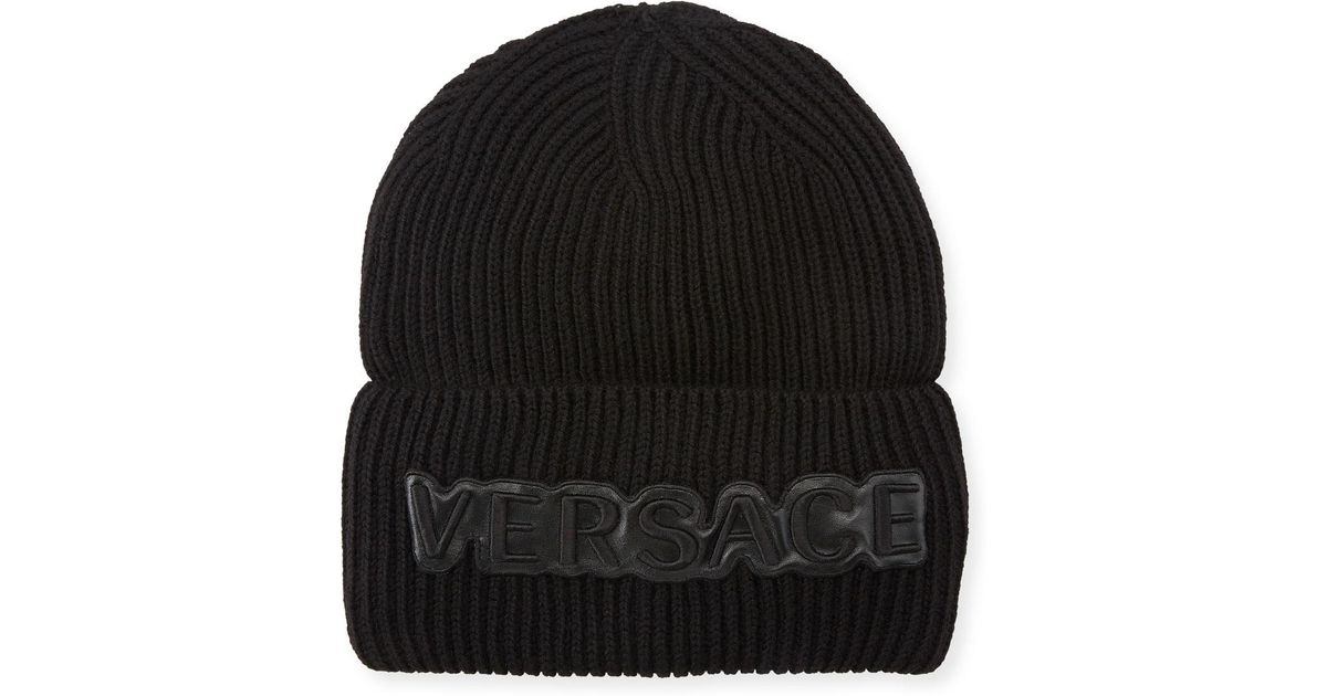 a75702ca976 Lyst - Versace Men s Fold-over Beanie With Logo Applique in Black for Men