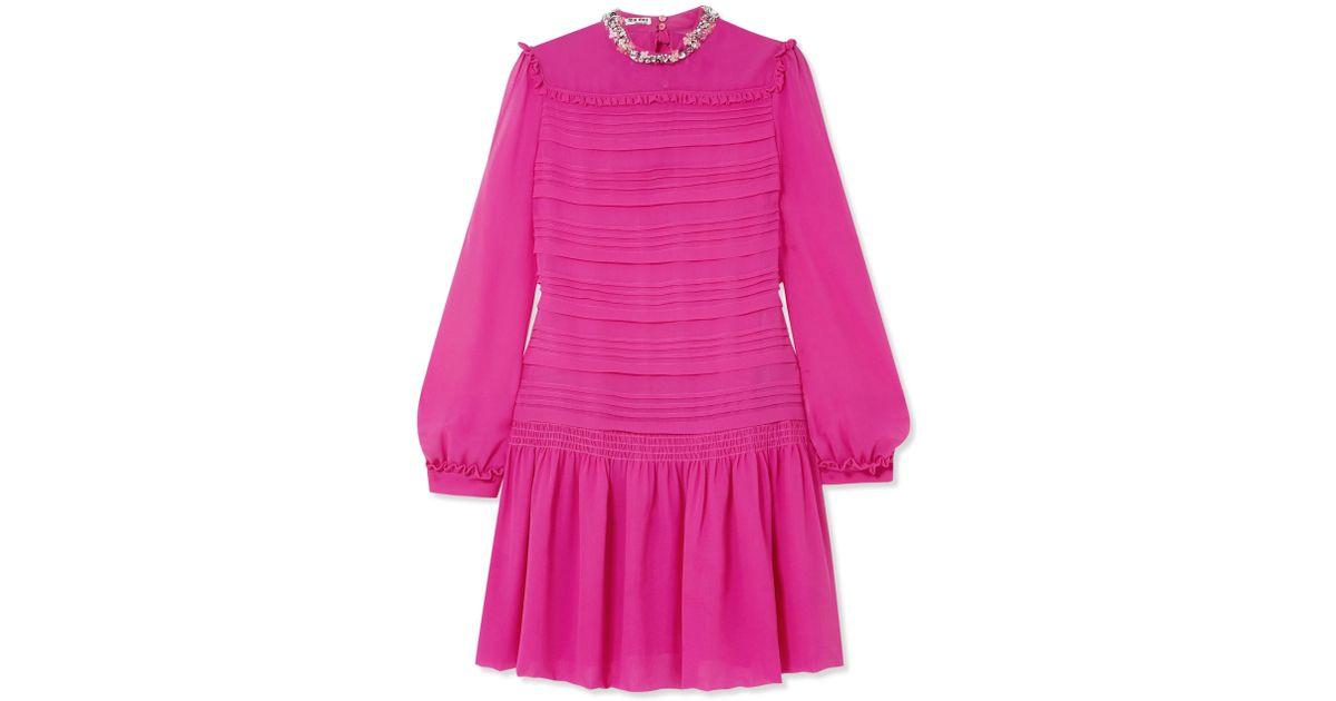 Embellished Silk-chiffon Mini Dress - Fuchsia Miu Miu Best Store To Get Outlet Discount Authentic eJqcz