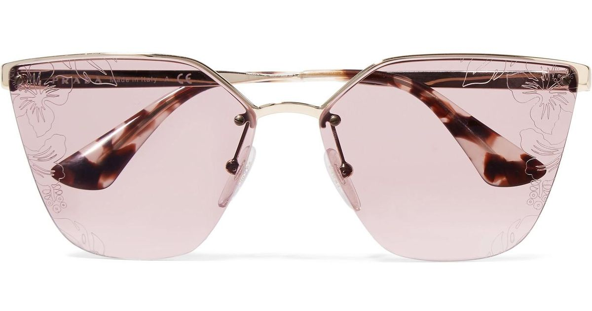 2304b29694d2 ... sweden prada cat eye acetate and silver tone sunglasses in metallic lyst  db9c8 01b86
