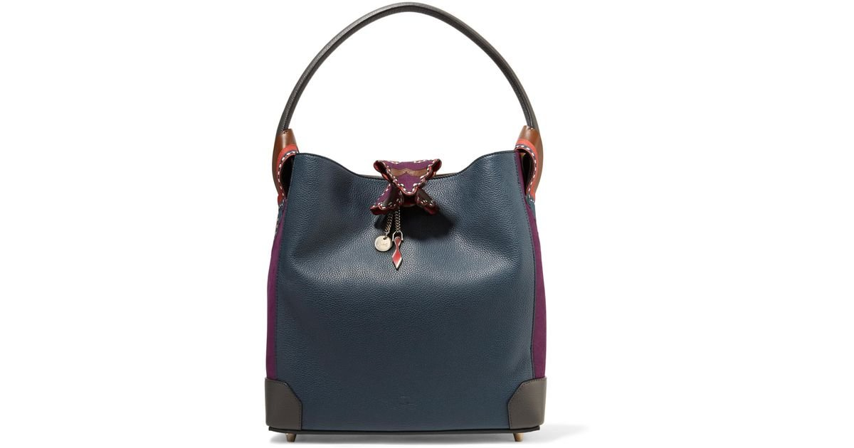 f77a69c72ac Christian Louboutin Eloise Suede-paneled Textured-leather Shoulder Bag in  Blue - Lyst