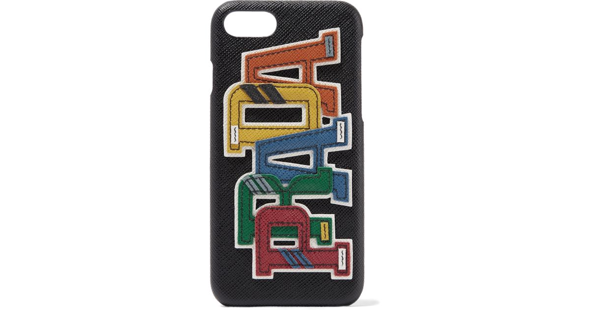 84c330a2f471 Lyst - Prada Appliquéd Textured-leather Iphone 7 Plus Case in Black