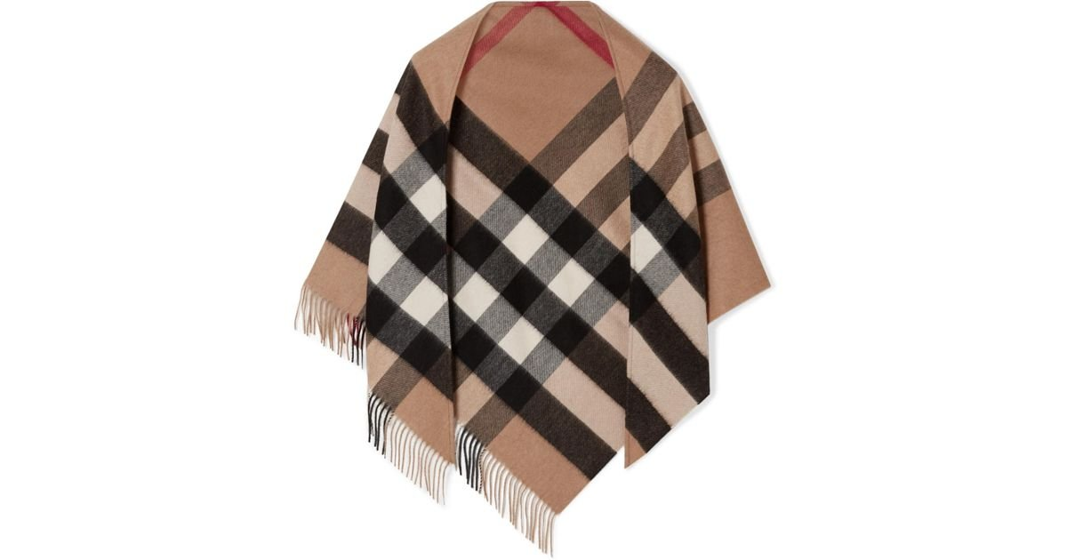 0263dbc6517c Burberry Fringed Checked Cashmere Scarf in Brown - Lyst