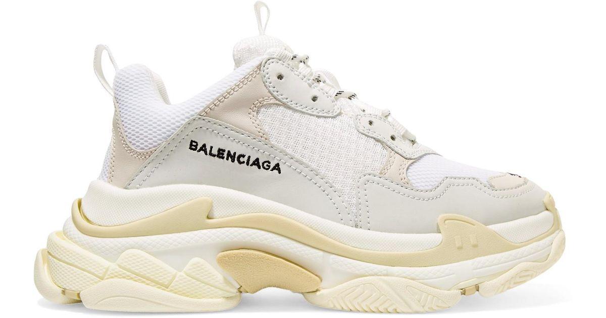 68963921e37d Lyst balenciaga triple leather trimmed mesh platform sneakers in white jpeg  1200x630 Balenciaga platform