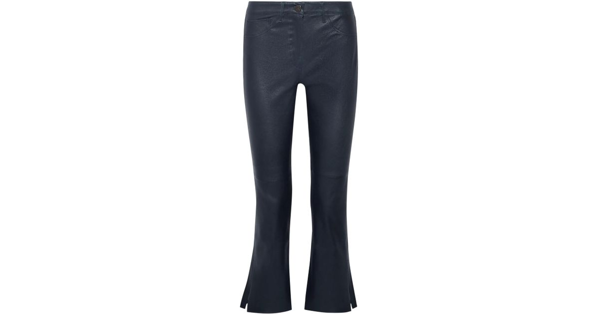 W2 Split Bell Crop Leather Flared Pants - Navy 3x1 BINpO4M