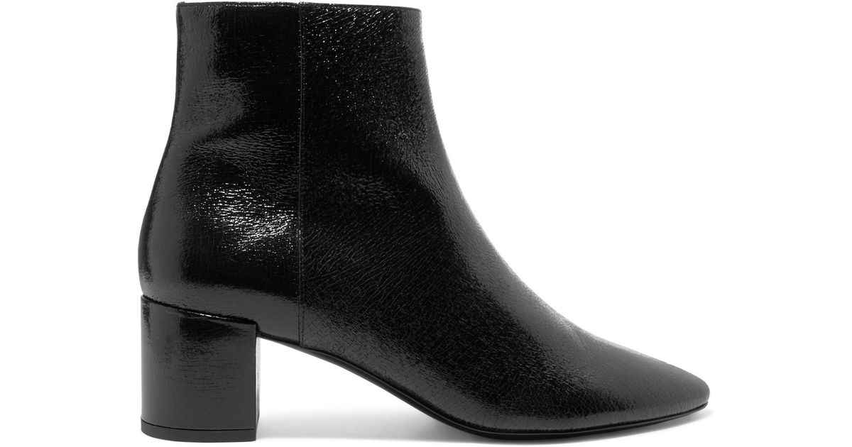 a3dd6cfad87 Saint Laurent Lou Cracked Glossed-leather Ankle Boots in Black - Lyst