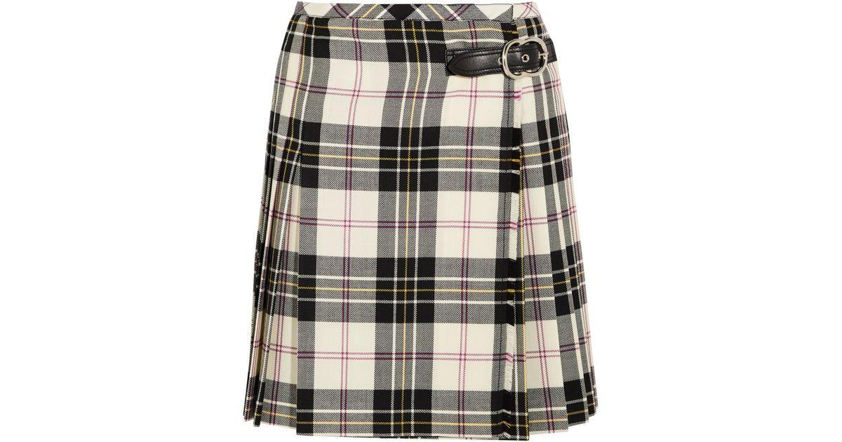 6f54bd9e9 Miu Miu Leather-trimmed Pleated Tartan Wool Mini Skirt in White - Lyst