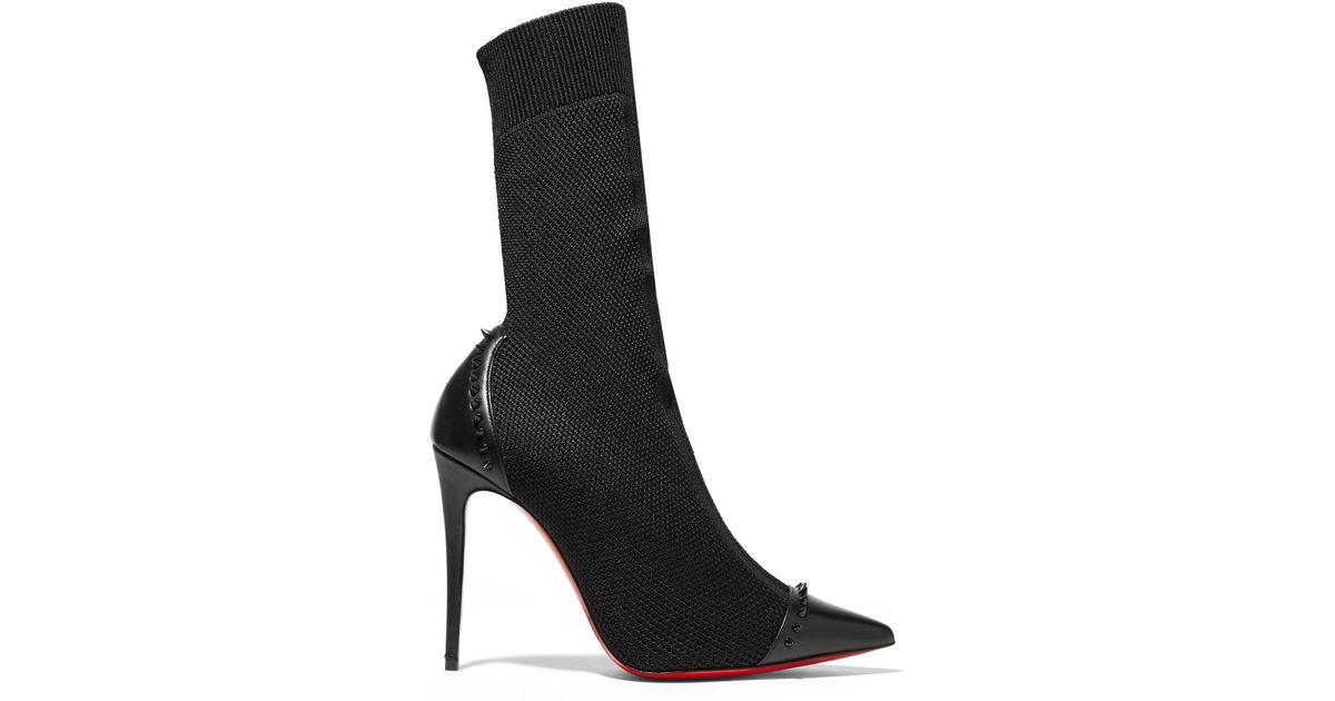 979f18354b44 Lyst - Christian Louboutin Dovi Dova 100 Studded Leather-trimmed Stretch-knit  Sock Boots in Black