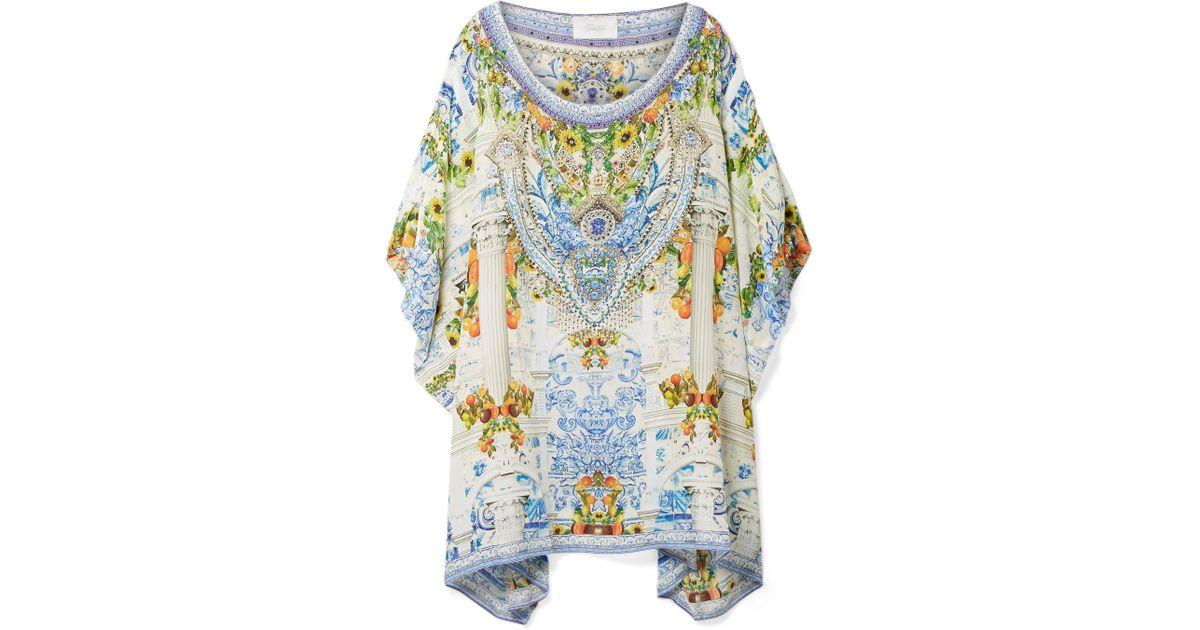 Rio Embellished Printed Silk Crepe De Chine Kaftan - White Camilla Ya4aru2t