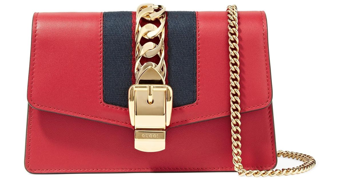 b183093fbc78 Gucci Sylvie Leather Super Mini Bag in Red - Save 7% - Lyst