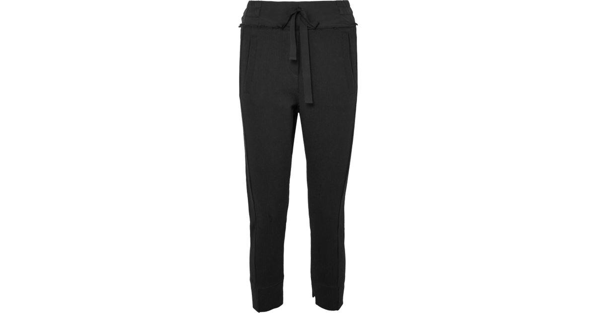 negro en recortado Demeulemeester Lyst de chándal de pantalones Ann elástico algodón acanalado 4UPvx4Aw
