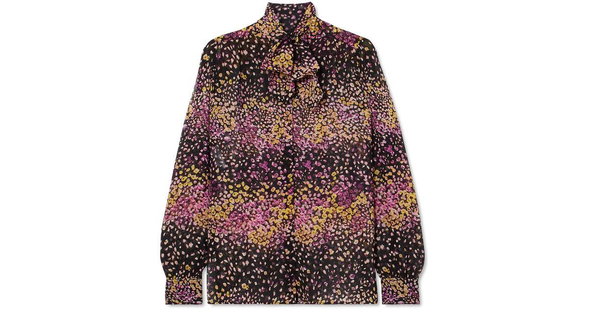 a889c2a350673c Giambattista Valli Pussy-bow Floral-print Silk-georgette Blouse in Black -  Lyst