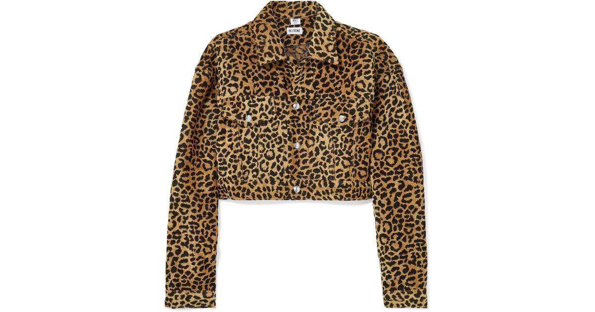 309d0c28f19f RE/DONE Cropped Leopard-print Velvet Jacket - Lyst