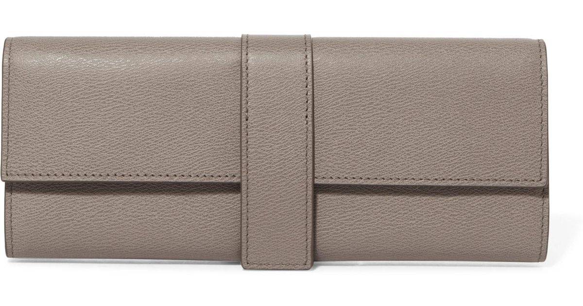 299e8c628931 Lyst - Smythson Grosvenor Textured-leather Jewelry Roll in Gray