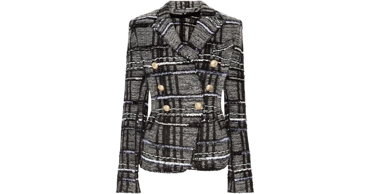 593c3b2a Balmain Double-breasted Checked Tweed Blazer in Black - Lyst