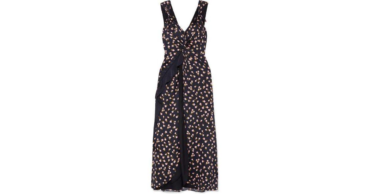 be4c6e37e6faa Self-Portrait Twisted Ruffled Floral-print Satin-twill Dress in Black - Lyst