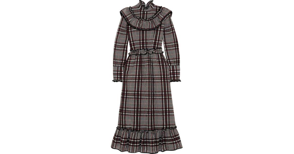 4975712b Ganni Charron Checked Cotton-blend Seersucker Midi Dress in Gray - Lyst