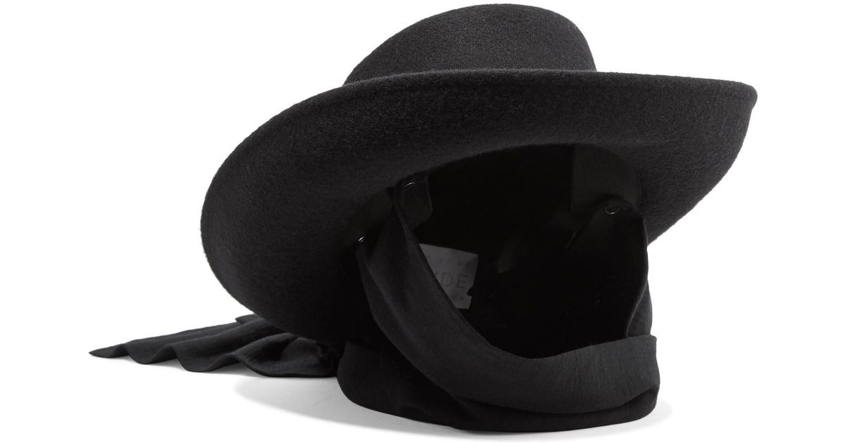 Clyde Gambler Jersey-trimmed Wool-felt Hat in Black - Lyst 349d5285be38