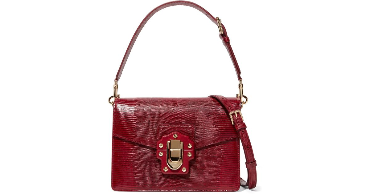 Lyst - Dolce   Gabbana Lucia Lizard-effect Leather Shoulder Bag in Red 1352d9f961