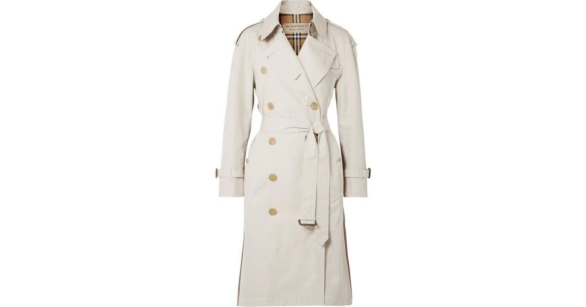 Lyst - Burberry The Trecastle Striped Cotton-gabardine Trench Coat in  Natural 37b0b39ac79