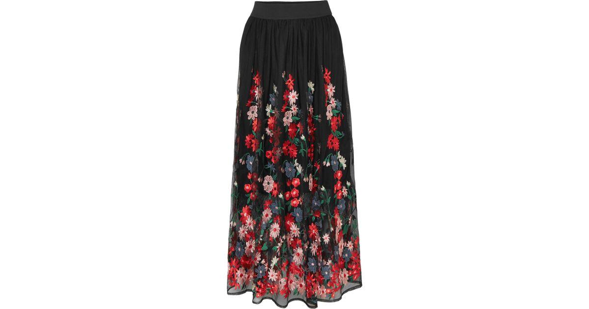 a46b59c3c8 Maje Jamie Embroidered Tulle Midi Skirt - Lyst