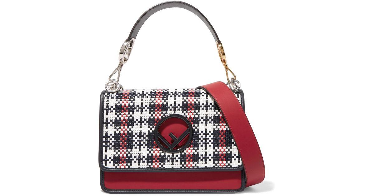Fendi Kan I Woven Leather Shoulder Bag in Red - Lyst 275b1da810b32