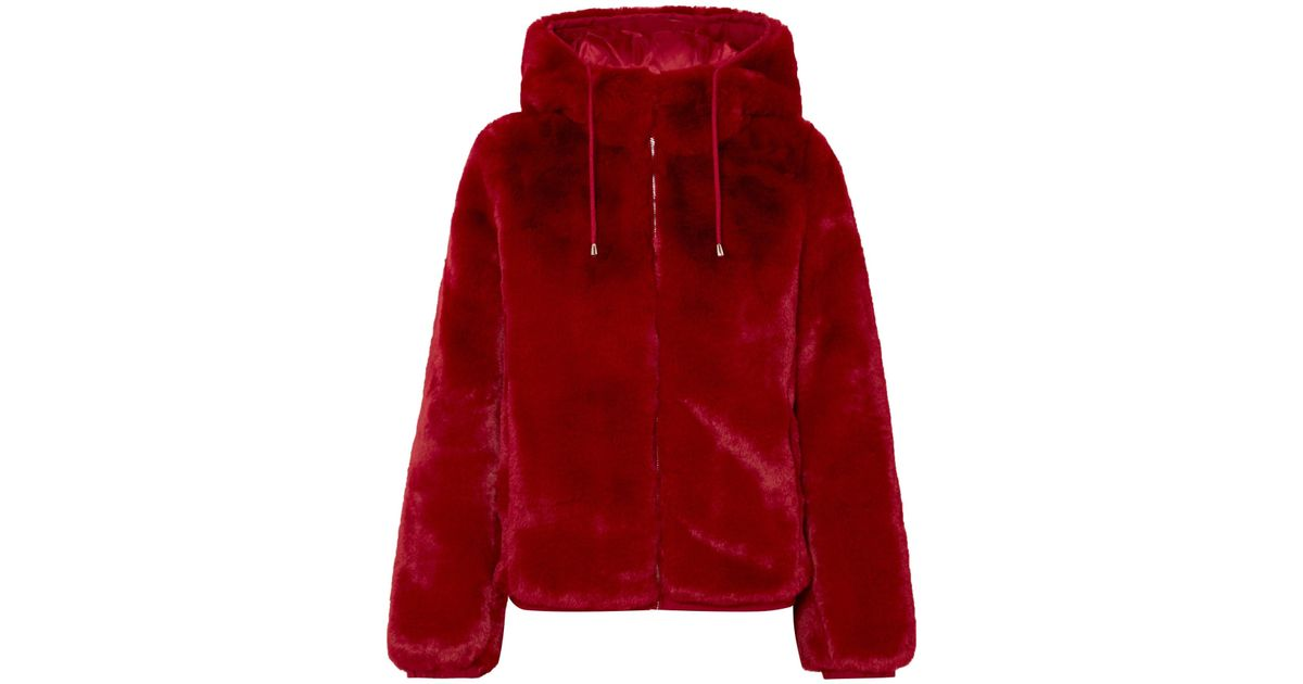 c2162b7ca8e2 Lyst - Maje Hooded Faux Fur Jacket in Red