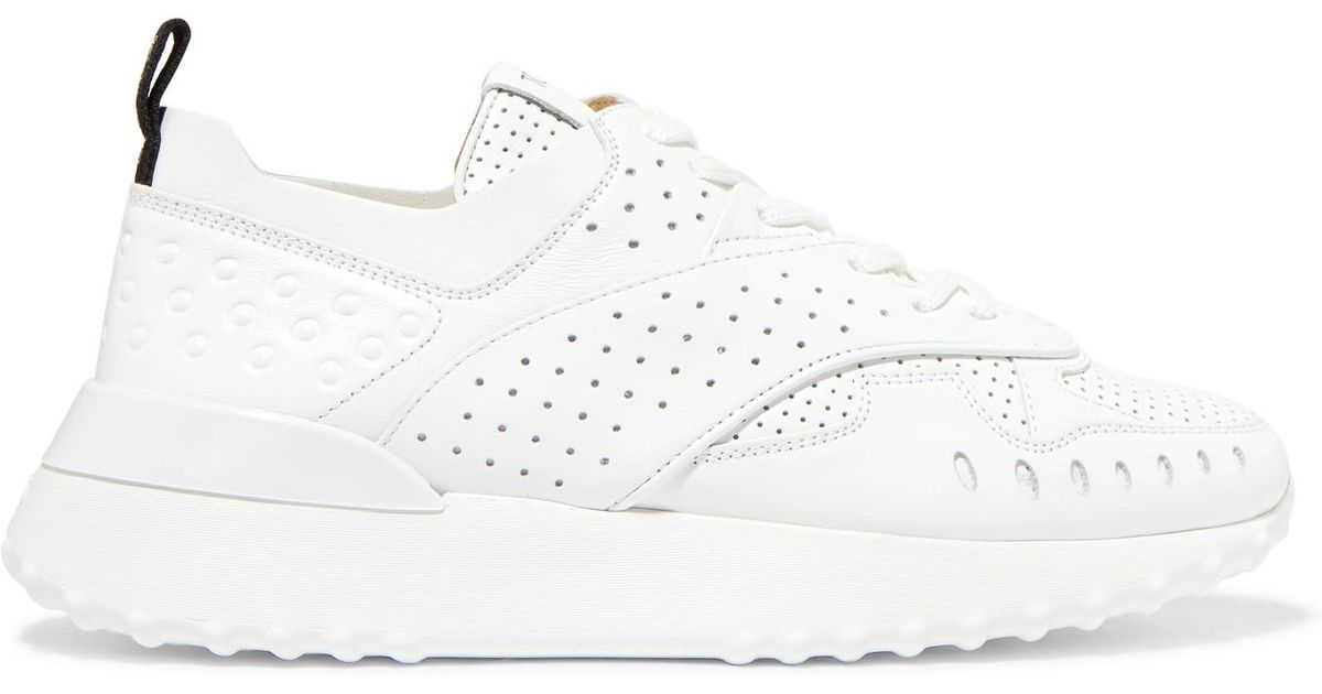 Logo-print Perforated Leather Sneakers - White Tod's PnVset5AKQ