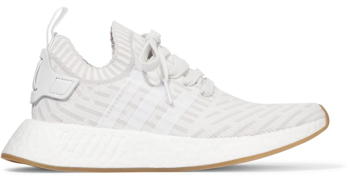Adidas Originals White Nmd R2 Leather trimmed Primeknit Sneakers Lyst