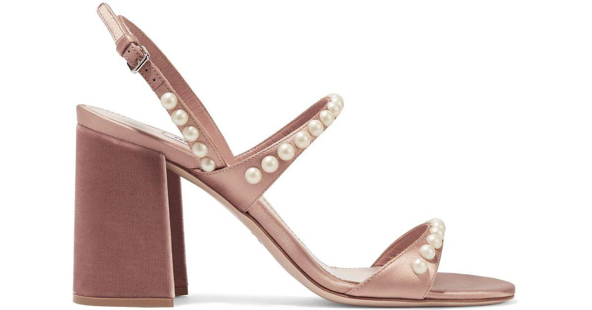 Faux Pearl-embellished Suede Slingback Sandals - Black Miu Miu FJJhnW