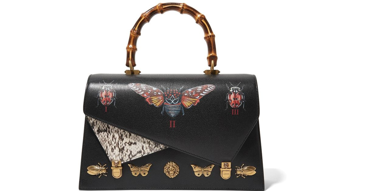 Ottilia Small Embellished Elaphe-paneled Printed Leather Tote - Off-white Gucci 3PaYf9