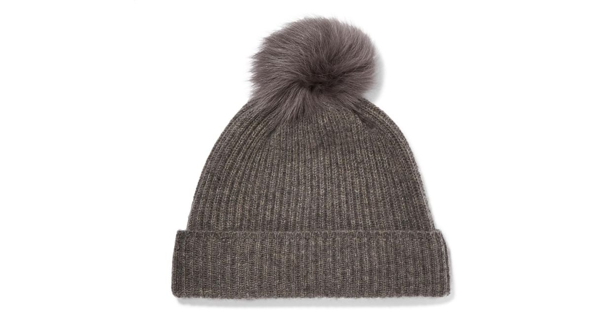 7e3c1100628 Lyst - Karl Donoghue Pompom-embellished Ribbed Cashmere Beanie in Gray