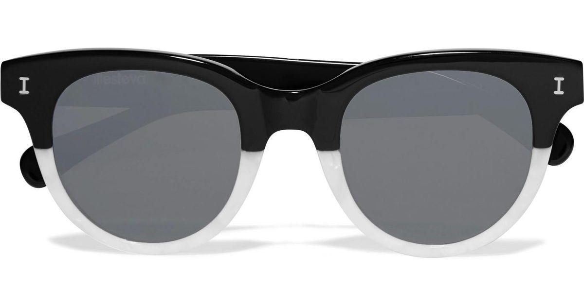 480f7b9cf5 Illesteva Sicilia Cat-eye Two-tone Acetate Sunglasses in Black - Lyst
