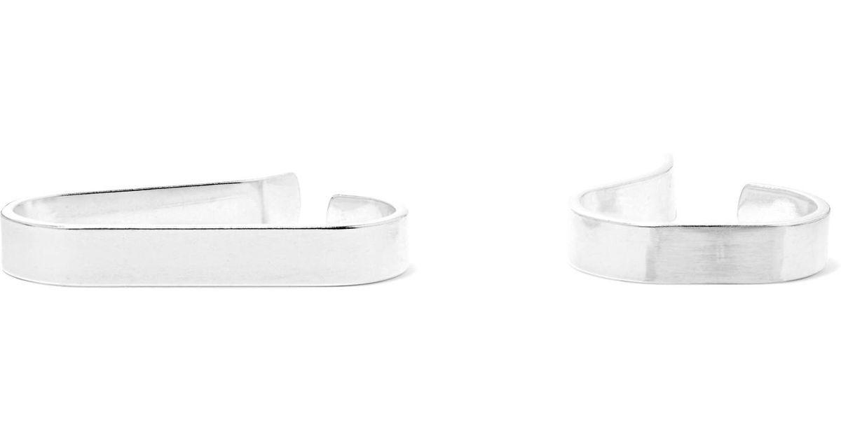 Saskia Diez X Stripe Set Of Two Silver Ear Cuffs 9ySk9Q25e