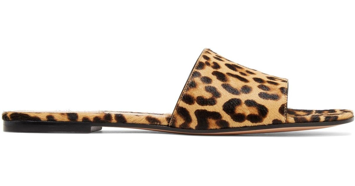 7a0f5ea077a Lyst - Gianvito Rossi Leopard-print Calf Hair Slides in Brown