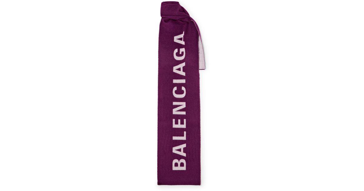 Frayed Wool-jacquard Scarf - Burgundy Balenciaga
