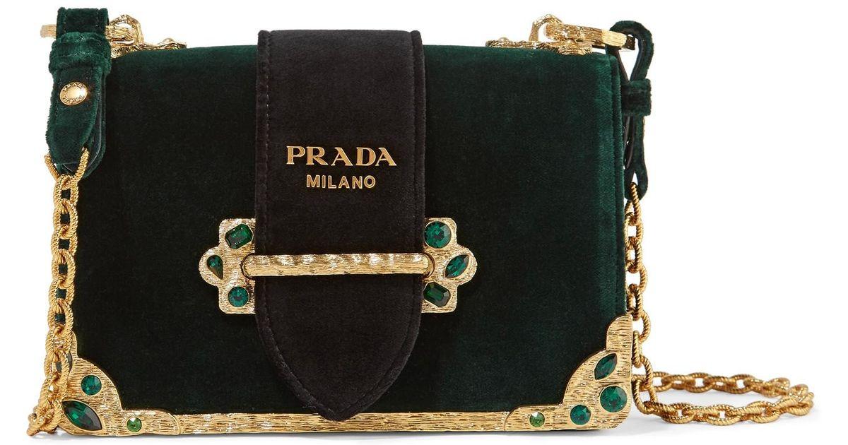 6a2b64a9fc65 Lyst - Prada Cahier Box Velvet Shoulder Bag in Green