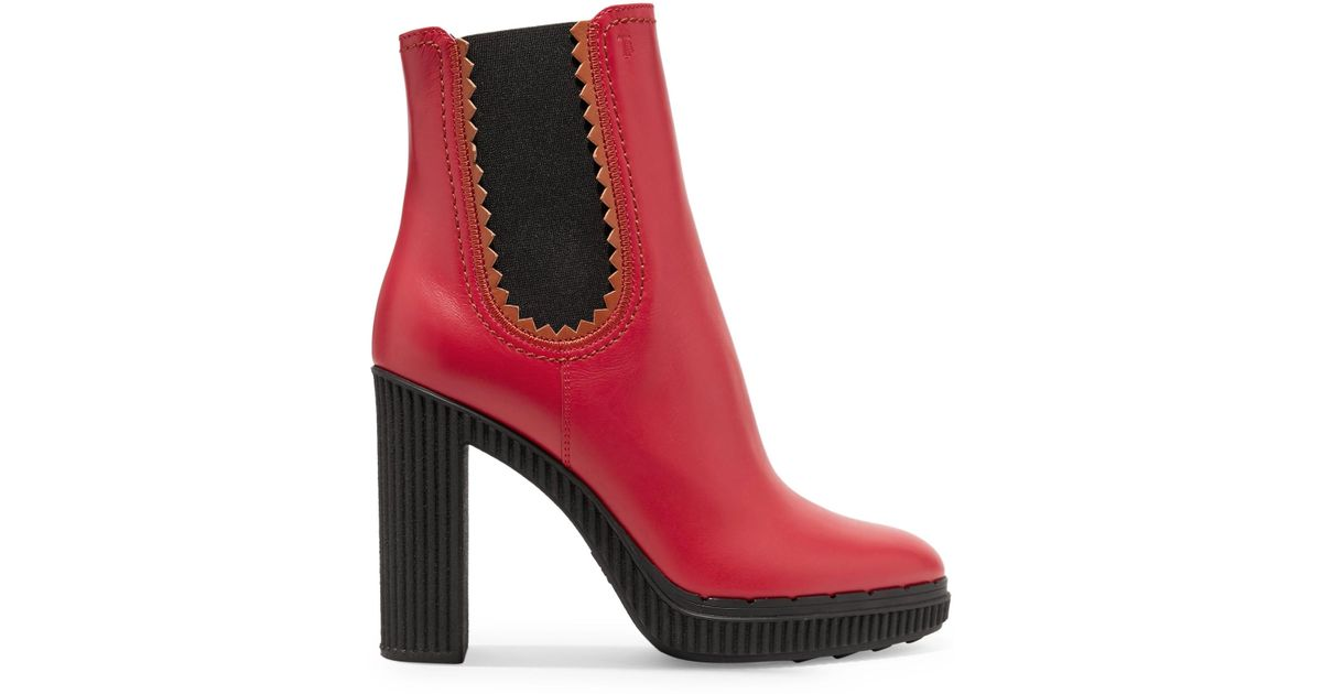 52c0cf9d5a8d Lyst - Tod s Leather Platform Ankle Boots in Red