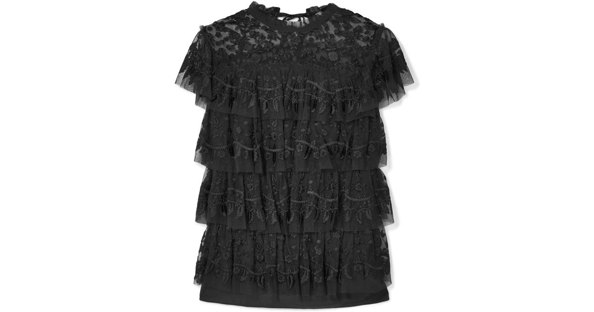 b21cb89d8 Needle & Thread Tiered Embroidered Tulle Top in Black - Lyst