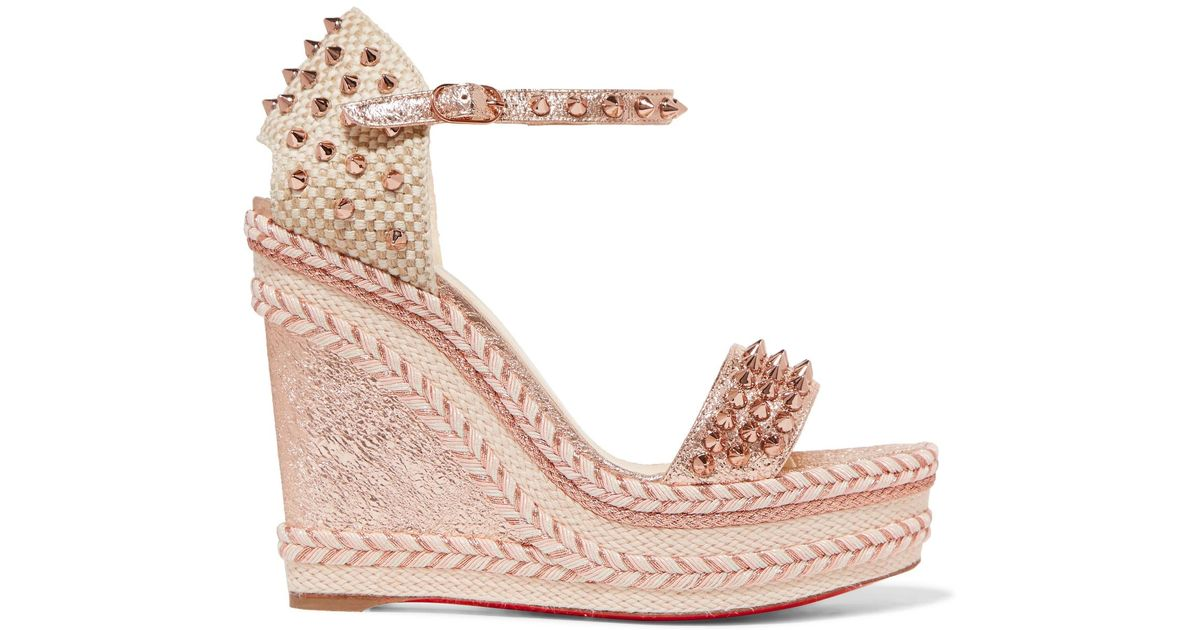 3a5faea96a7 Christian Louboutin Madmonica 120 Spiked Metallic Cracked-leather  Espadrille Wedge Sandals in Pink - Lyst